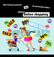 shopping during discounts vector image