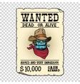 Steampunk robot cowboy wild West bandit alive or vector image