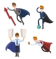 Superhero business man and woman in action vector image vector image