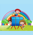 three kids playing in the field vector image vector image