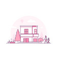 two storey building - modern thin line design vector image vector image