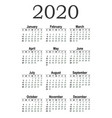 vertical pocket calendar on 2020 year vector image vector image