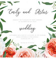 wedding floral invite greeting save date card vector image vector image