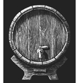 wooden barrel drawn on the chalkboard vector image vector image