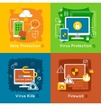 Data Protection Flat Icon Set vector image