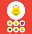 flat icon face set of smile happy sad and other vector image