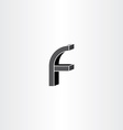 3d black letter f icon vector image vector image