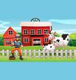 a farmer in rural scene vector image vector image