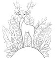 adult coloring bookpage a cute little deer on the vector image vector image