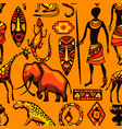 african ethnic seamless pattern people animals vector image