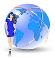beautiful stewardess at the airport vector image vector image