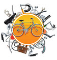 bicycle spares concept with bike vector image vector image