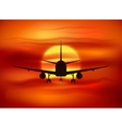 Black plane silhouette at red sunset background vector image vector image