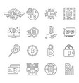 blockchain cryptocurrency icons set bitcoin vector image vector image