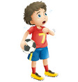 boy playing soccer football looking tired vector image vector image