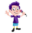 boy with microphone on white background vector image vector image