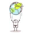 cartoon businessman throwing up earth vector image