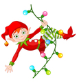 Christmas Elf on Garland vector image vector image