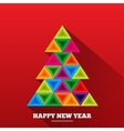 Christmas tree in rainbow triangles vector image