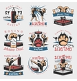 Colorful Kickboxing Emblems Set vector image