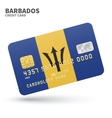 Credit card with Barbados flag background for bank vector image vector image