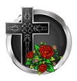 cross with roses in a circle vector image vector image