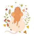 cute rat happy new year and merry christmas vector image