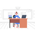 female teacher sitting at desk in front of vector image vector image