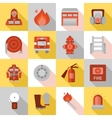 Fire Station Long Shadow Flat Icons vector image