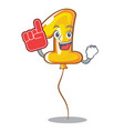 foam finger number one balloon stickto cartoon vector image