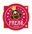 freak show icon with bearded lady head and stars vector image vector image