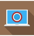 Gears on a laptop monitor icon flat style vector image vector image