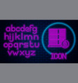 glowing neon server security with closed padlock vector image vector image