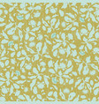 gold and blue folk art floral pattern vector image vector image