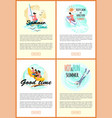 good time summer adventures seaside website set vector image vector image