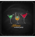 halloween party cocktails menu design background vector image