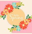 hello spring greeting card label for flower season vector image