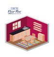 isometric floor plan of kitchen and dining room vector image vector image