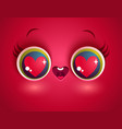 kawaii face with eyes and heart vector image vector image