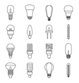Light bulb icons set outline style vector image vector image