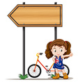 Little girl under the sign vector image