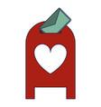 love letter inside mailbox blue lines vector image