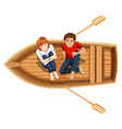 Man and woman sitting on the boat vector image