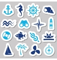 marine stickers vector image vector image