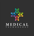 medical technology logo design template colorful vector image