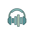 music headphones with equalizer icon or vector image vector image