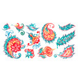 paisley floral watercolor set vector image