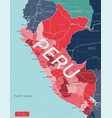 peru country detailed editable map vector image vector image