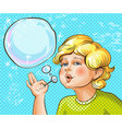pop art of cute kid blowing vector image vector image