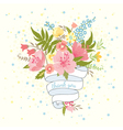 Pretty wedding invitation card with a bouquet vector image